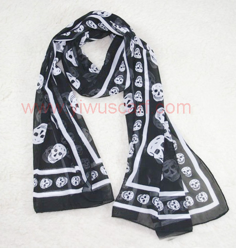 Skull Pattern Printed Chiffon Scarf Ladies' Scarves