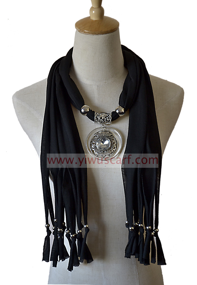 jewelry scarf with metal pendant