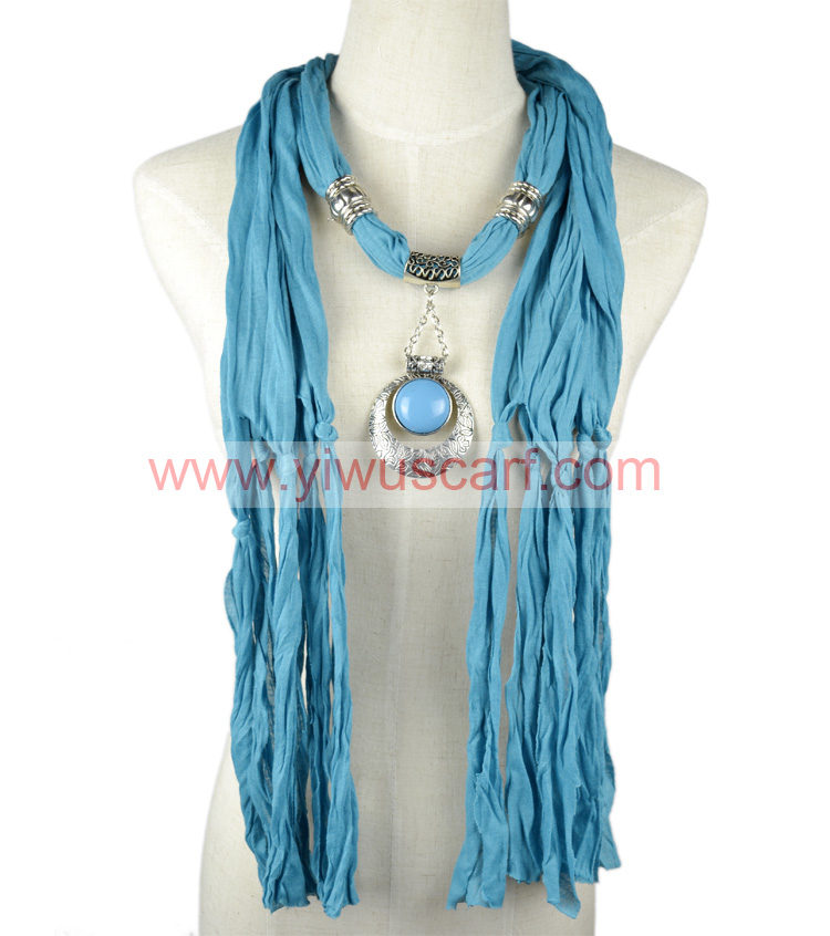 Jewelry Scarf with Charm Cotton Necklaces