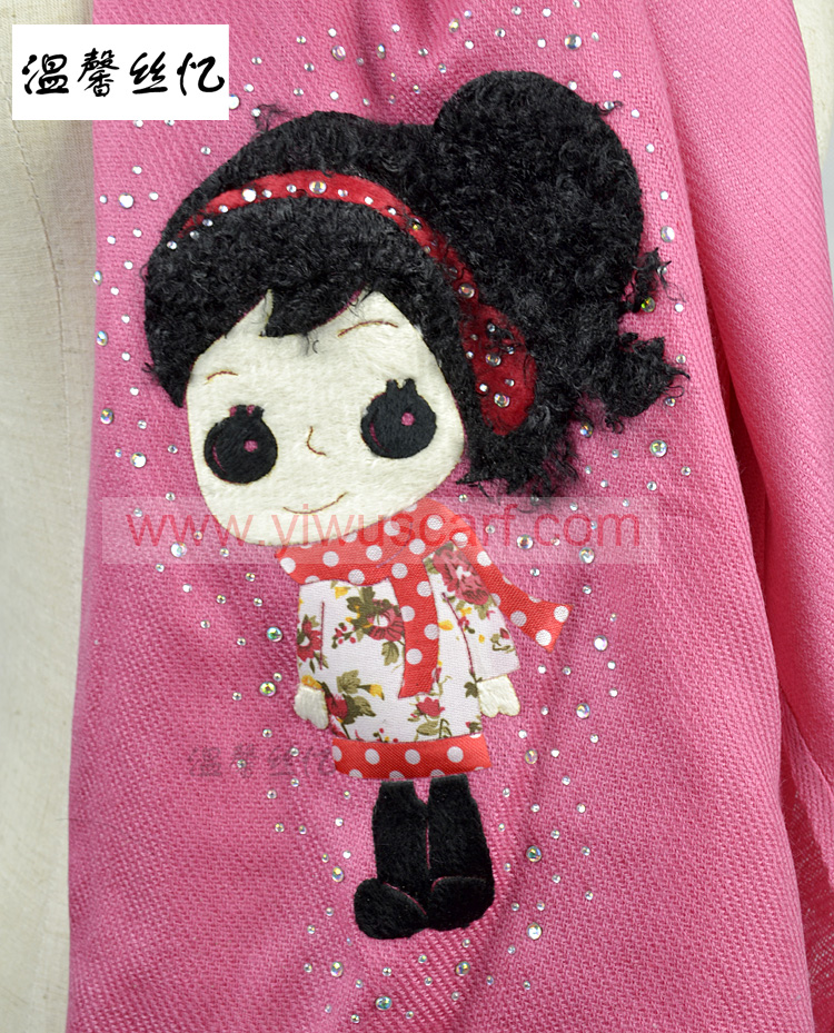 Cartoon jewelry embroidery scarf
