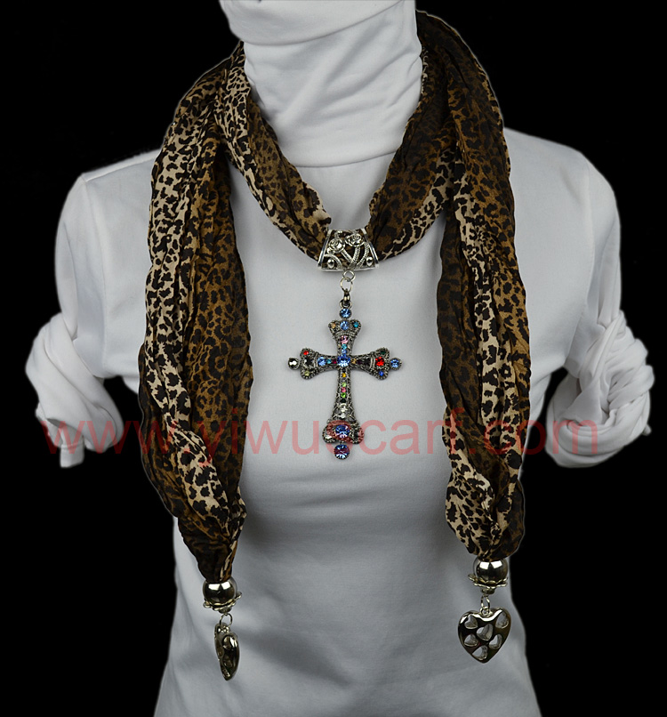 cross pendant scarf