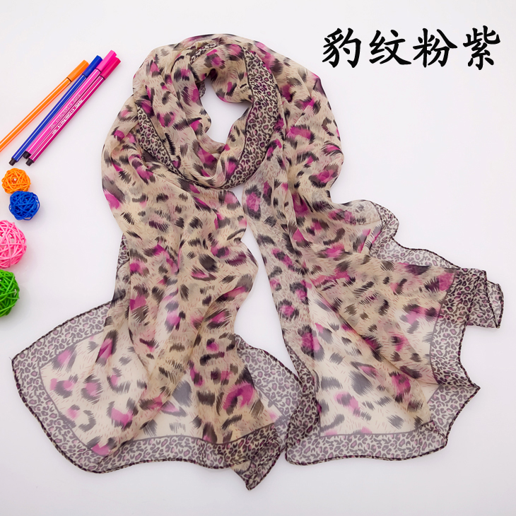 Chiffon ladies section shawls decorative wild leopard scarf
