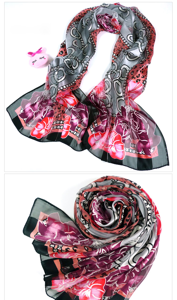 Korean mulberry silk scarf stitching gold thread leopard lock
