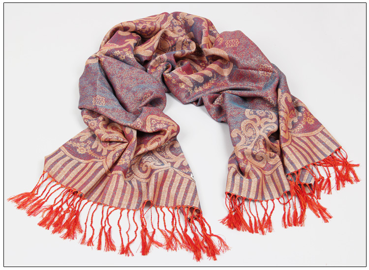 Mercerized cotton jacquard scarf