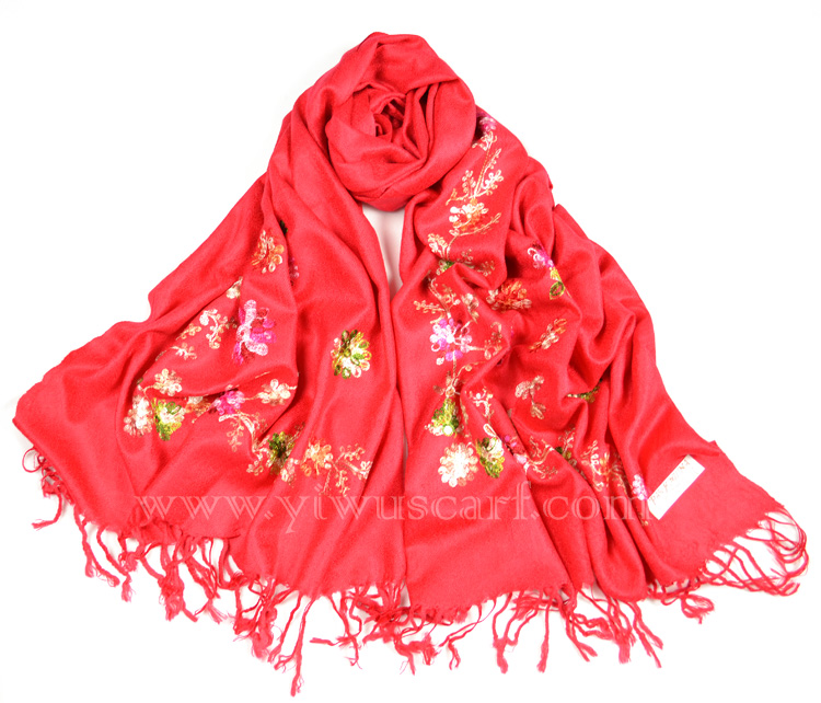 Embroidery cashmere scarf