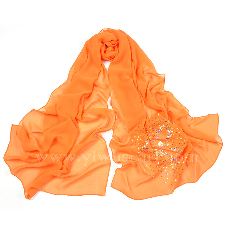 Sequined silk scarves