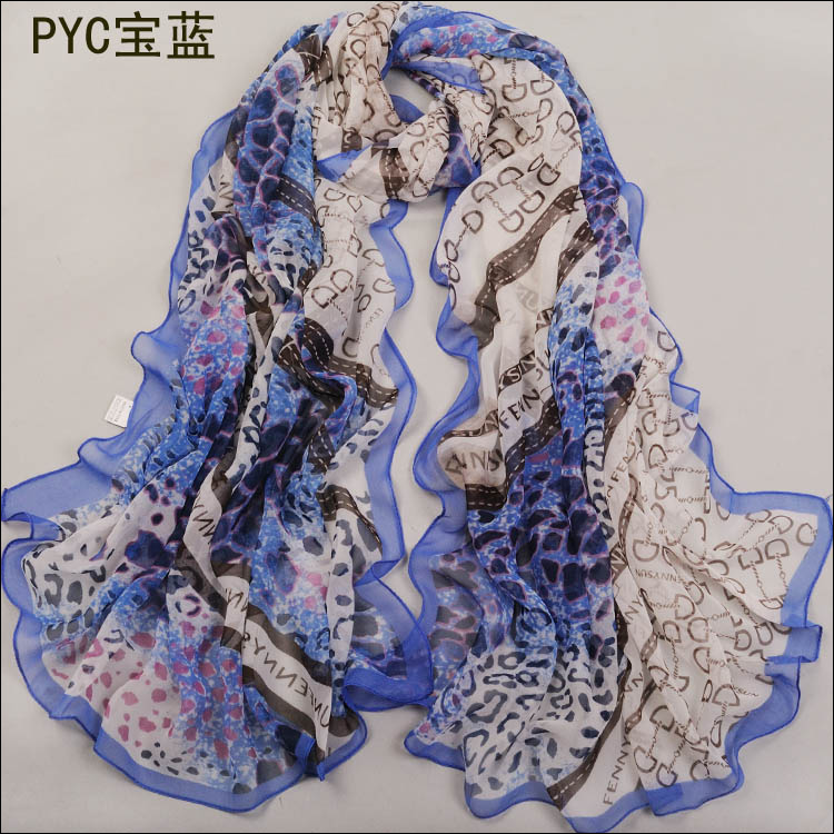 Leopard grain splicing scarf, silk georgette