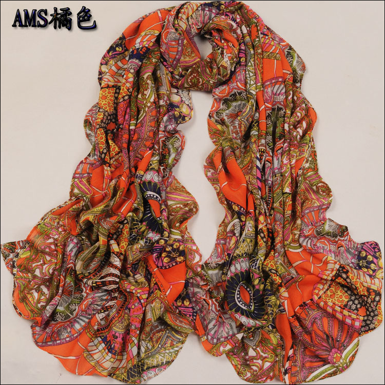 German mixed color silk scarves