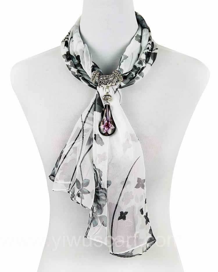 Letters numerals pendant jewelry scarf