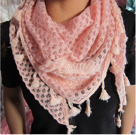 lace triangle silk scarf for autumn or winter