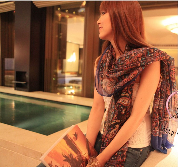 2013western new style totem ptinted scarf shawl