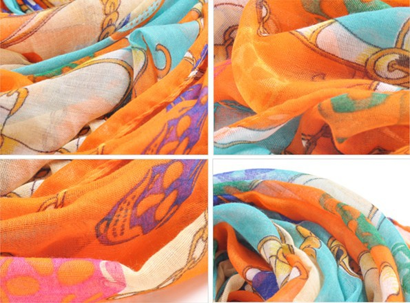 mullticolour skull silk scarf wholesale