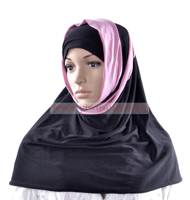 double layer Solid Color muslim hijab islamic scarfs