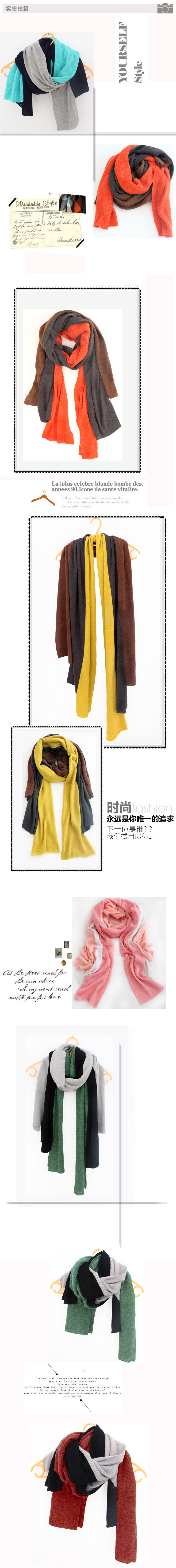 Couple Winter scarves decoration three-color muffler scarf