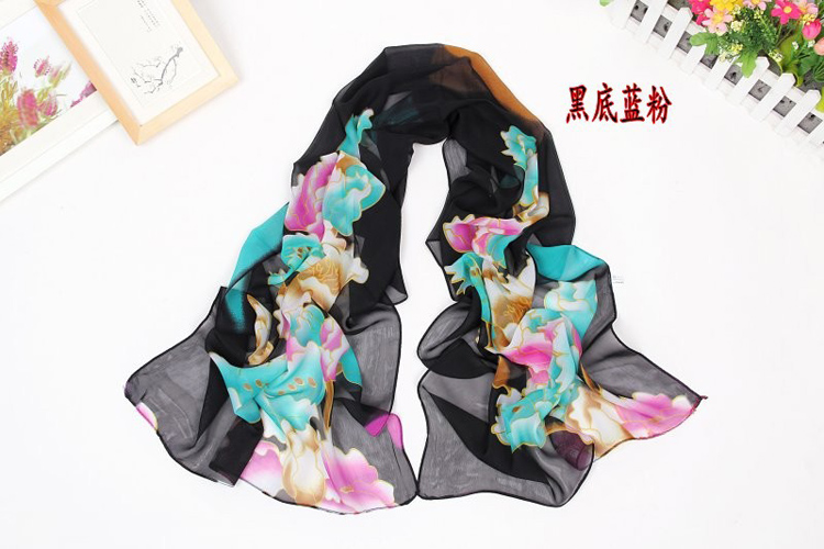 Fashion exotic flower print scarf