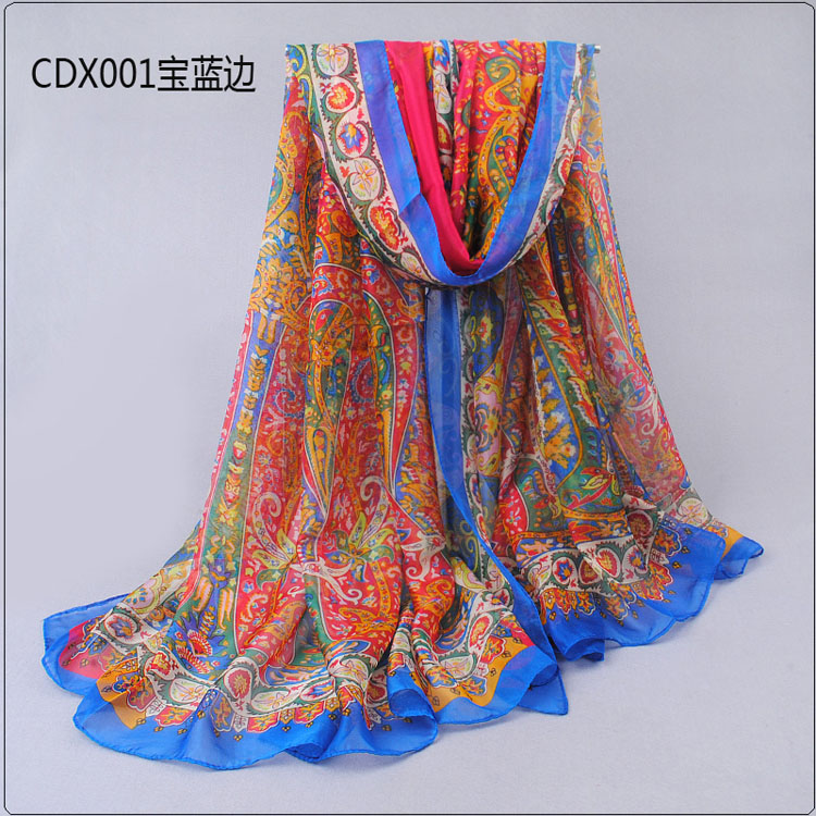plant cashew floral silk scarves wholesale china scarf