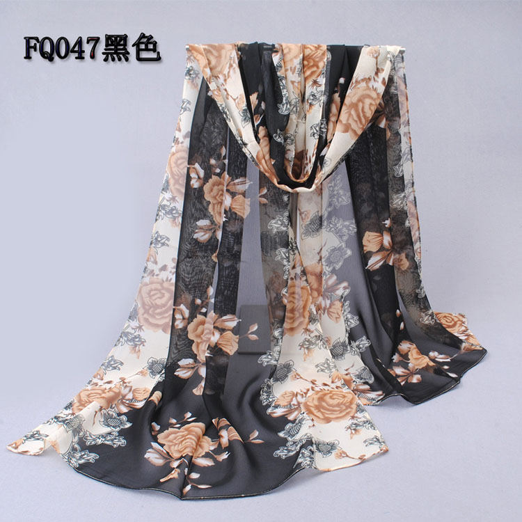 Yellow roses printed scarf shawls wholesale