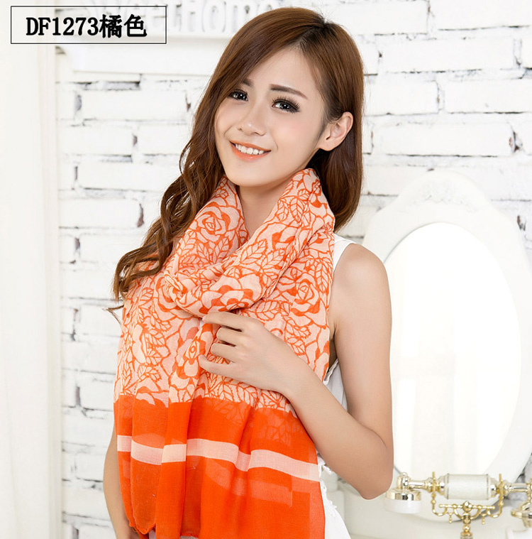 Embroidered flower thin scarves wholesale