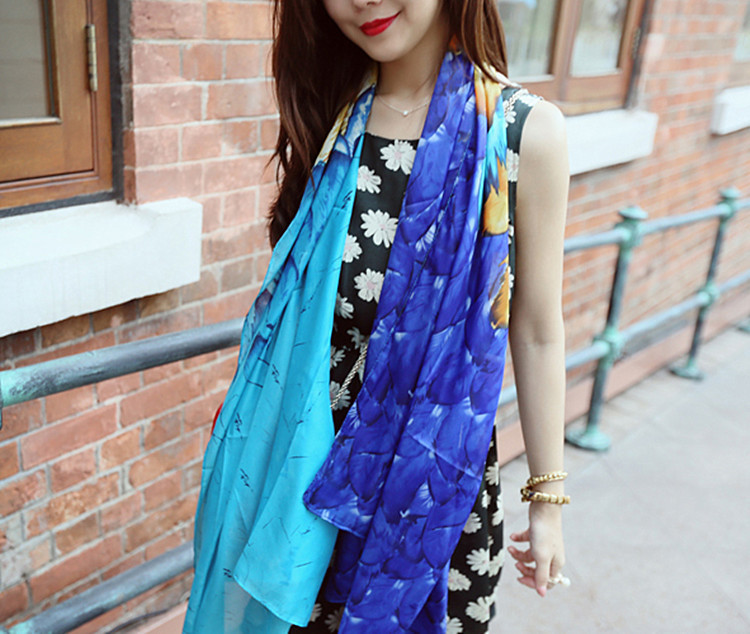 Feather gradient silk scarves wholesale
