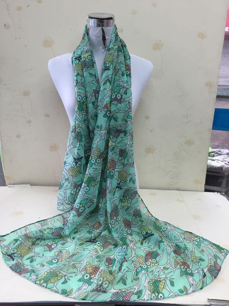Cartoon owl print voile scarf