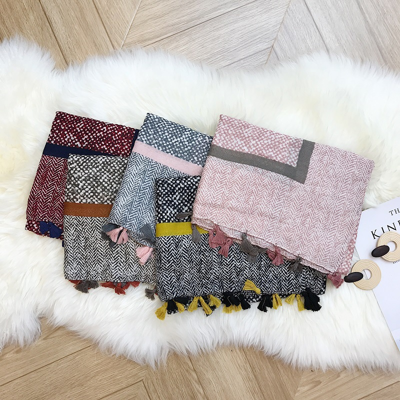 Wholesale ink tree shawl print flower cotton scarf