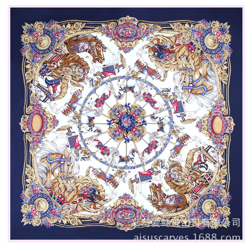 Silk scarf flower and horse square scarf