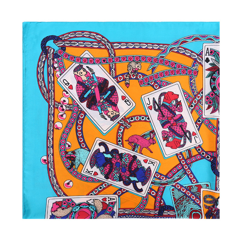 Playing card printing silk scarf wholesale square scarf