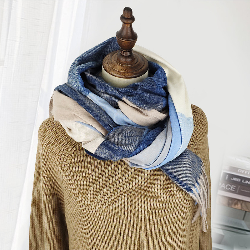 Winter plaid thick scarf wholesale