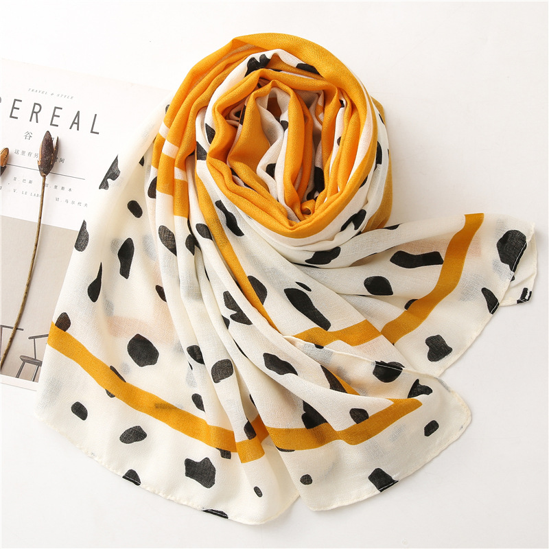 Cotton yellow cow striped shawl