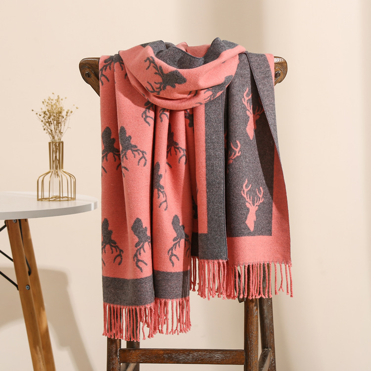 Deer pattern thick cheap scarf