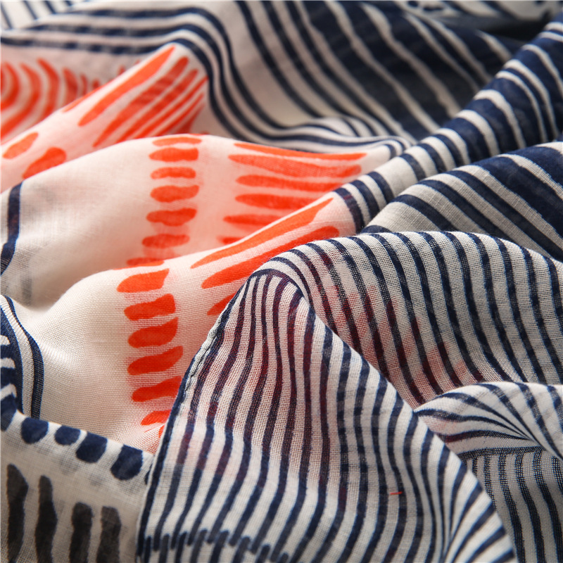 Cotton linen striped printed scarf wholesale
