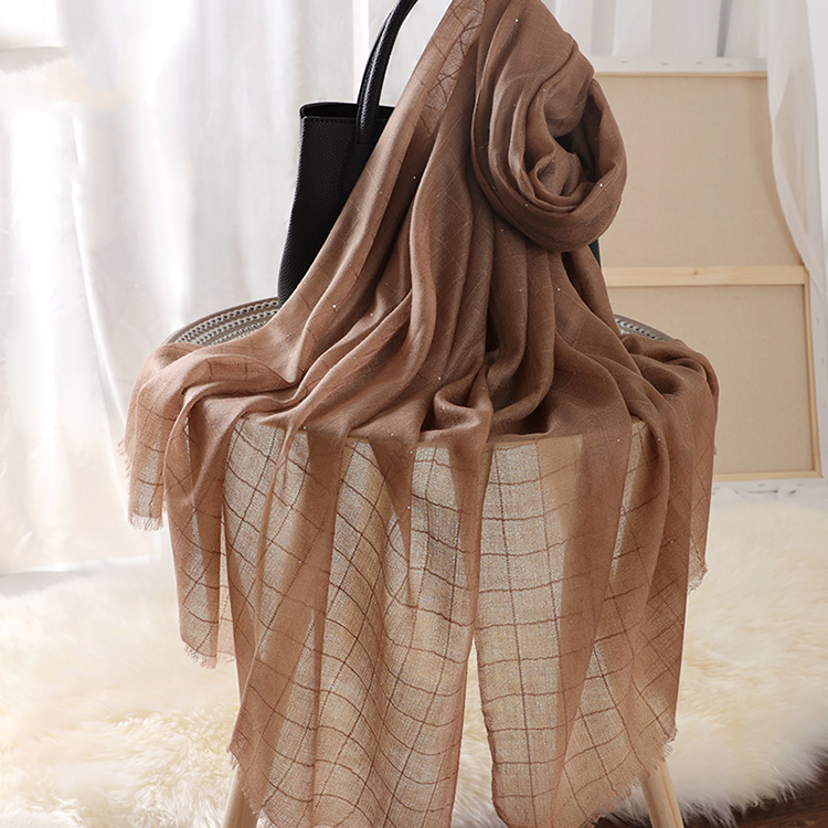 100% cashmere plaid sequined brown scarves