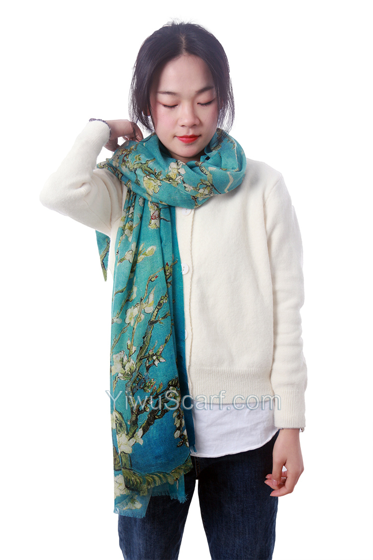 Apricot Flower Oil Painting Shawl Thickened 100% Cashmere Scarves