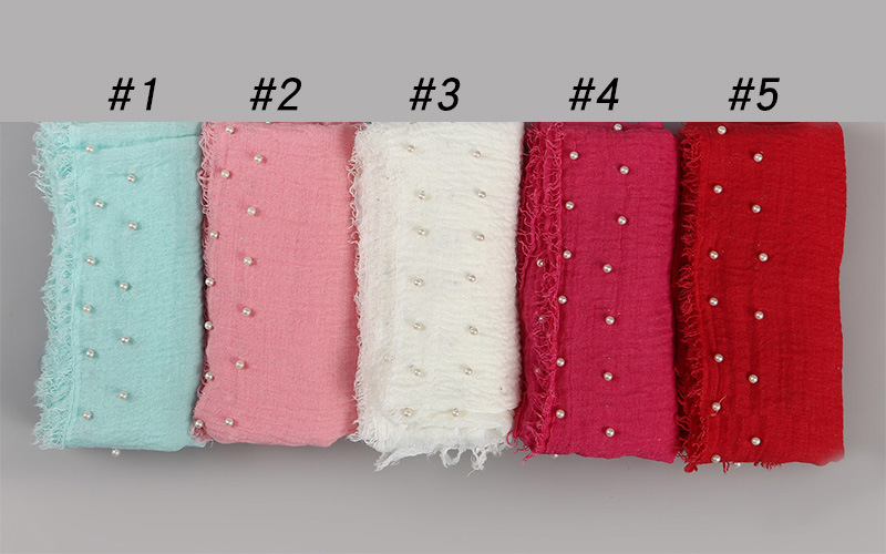 Wholesale scarf pearl head scarf cotton crimped female scarf supplier