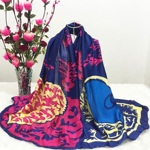 Female color potted pattern silk scarves wholesale