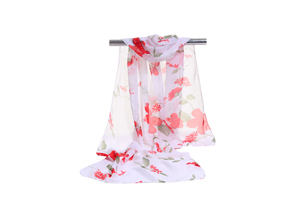 Female white color flowers chiffon scarf wholesale