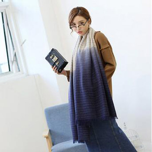 Double color gradient yarn dyed cotton linen scarf wholesale
