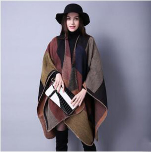 Female joker grid chaddar national wind cloak wholesale