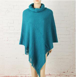 Female turtleneck pure color tassel acrylic cloak scarf wholesale