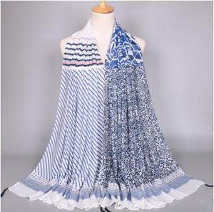 Female mercerized cotton striped scarf wholesale