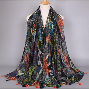 Ink painting female tassel scarf wholesale