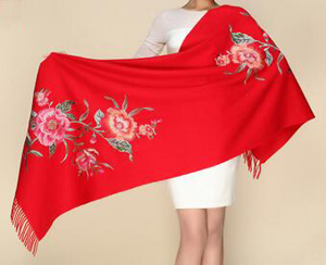 Warm pure wool embroidered shawls scarf wholesale