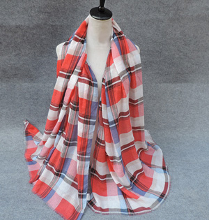 Plaid modal scarves