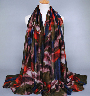 Feather printed silk scarves