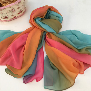 Wholesale gradient ramp women silk scarves