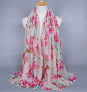 Silk floral fabric scarves