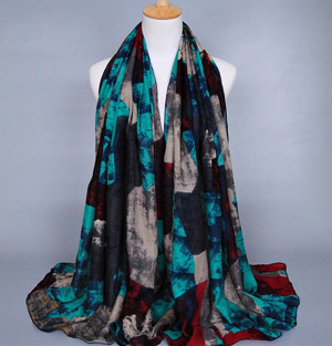 Silk custom graffiti printed scarf