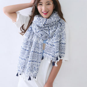 Spring Wholesale women length printing silk scarves