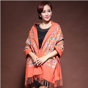 100% wool embroidered scarves wholesale