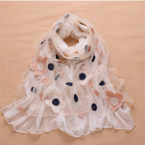 Korea stitchwork women silk scarves